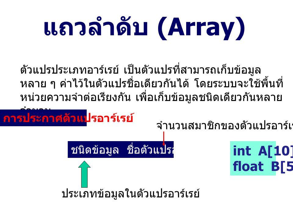 แถวลำดับ (Array) int A[10]; float B[5];